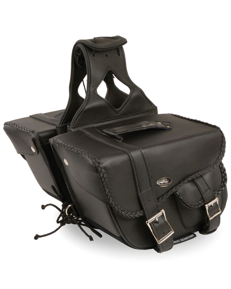 Milwaukee Leather Medium Braided Throw Over Saddle Bag, Black, hi-res