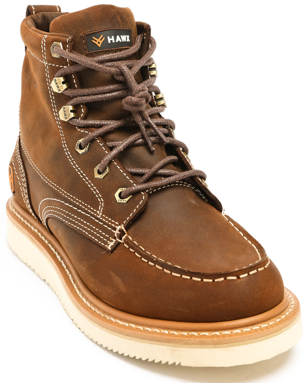 Hawx® Men's Grade Moc Distressed Wedge Work Boots - Moc Toe, Distressed Brown, hi-res