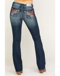 Miss Me Women's Dark Wash Purple Velvet Paisley Bootcut Jeans , Blue, hi-res