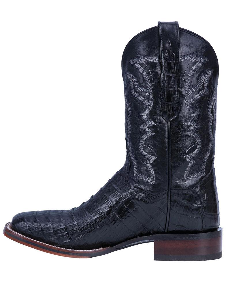 Dan Post Men's Kingsly Black Caiman Western Boots - Wide Square Toe, Black, hi-res