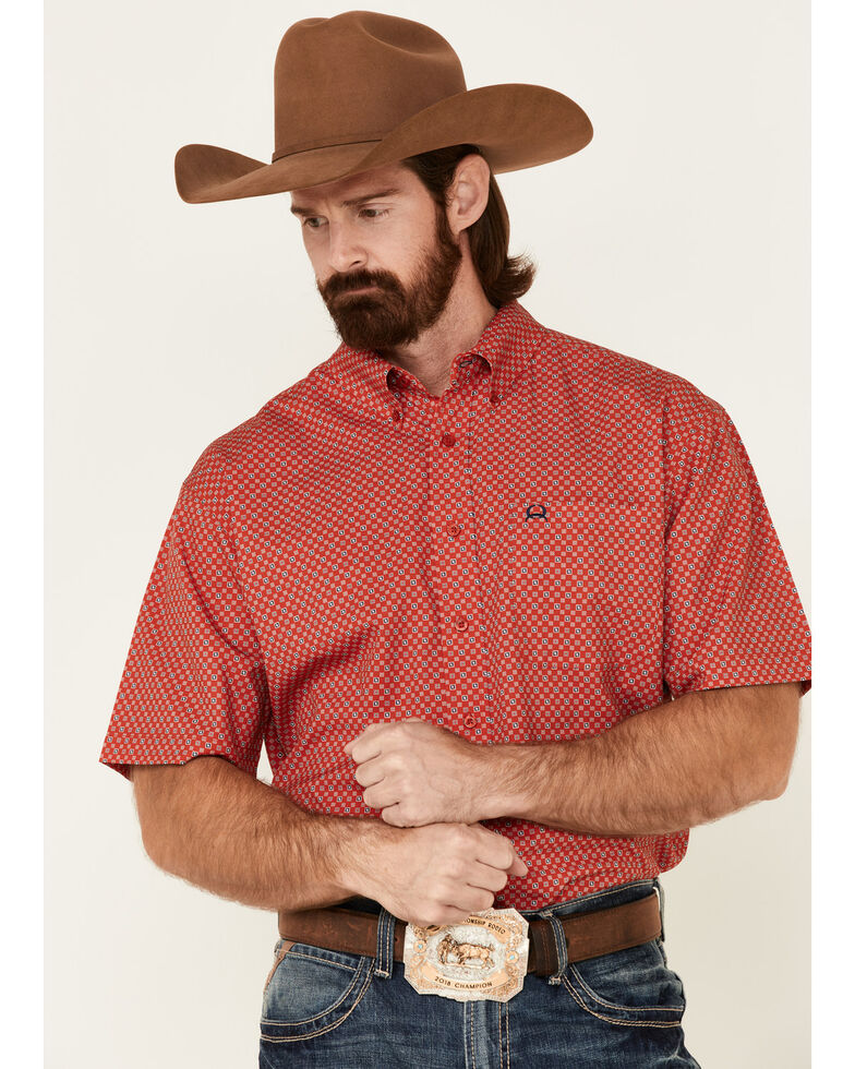 Cinch Men's Arena Flex Red Small Geo Print Short Sleeve Button-Down Western Shirt - Big, Red, hi-res