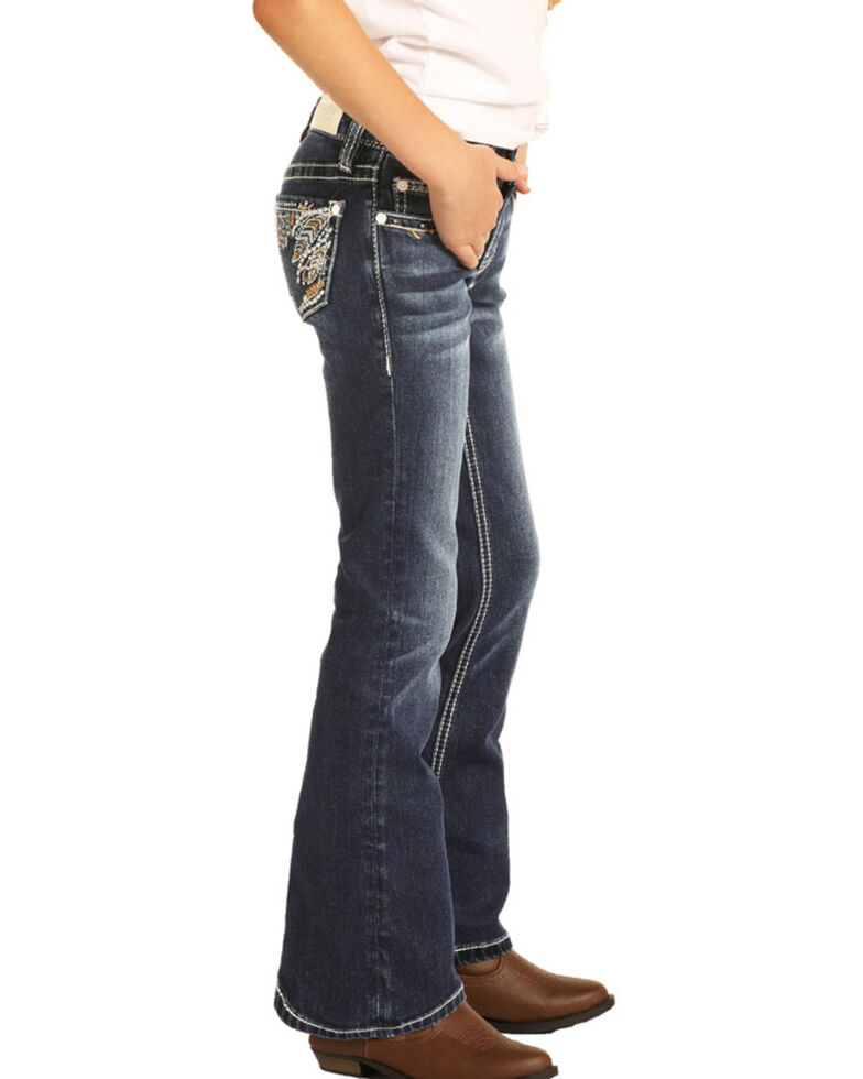 Rock & Roll Cowgirl Girls' Feather Embroidered Bootcut Jeans, Blue, hi-res