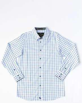 Cody James Boys' Grove Small Plaid Long Sleeve Western Shirt , White, hi-res