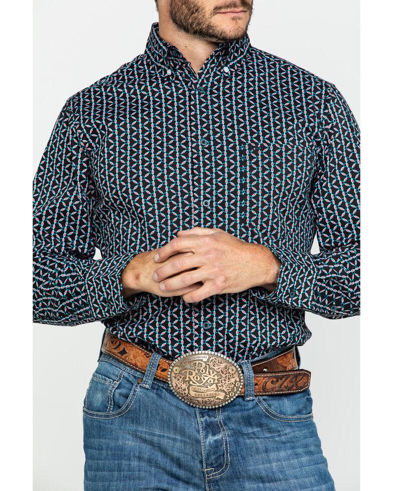 Wrangler 20X Men's Red Geo Print Performance Long Sleeve Western Shirt , Black/red, hi-res