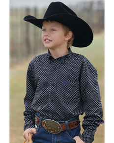 Cinch Boys' Black Geo Print Long Sleeve Western Shirt , Black, hi-res