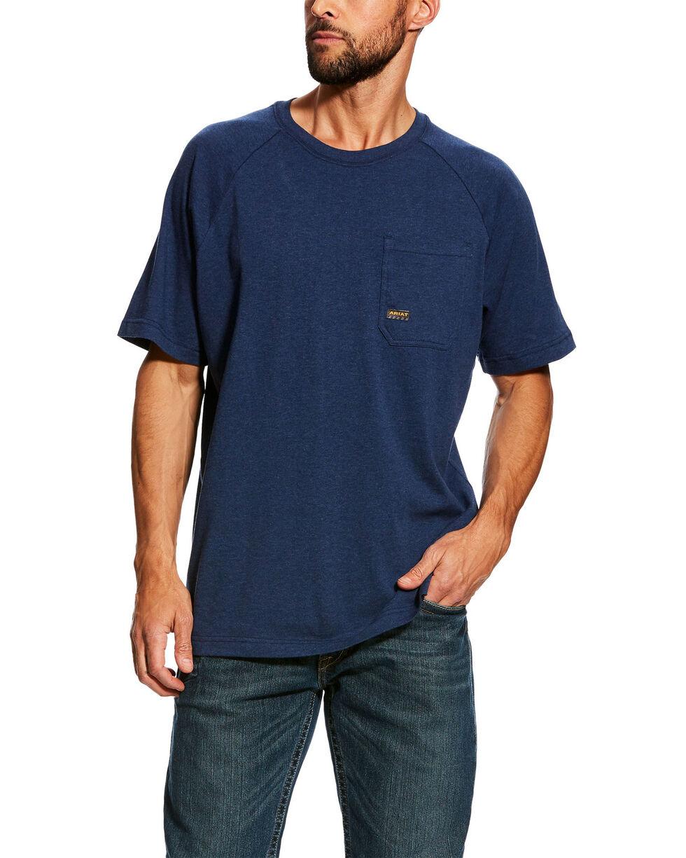 Ariat Men's Navy Rebar Cotton Strong Short Sleeve Logo Crew T-Shirt - Tall , , hi-res