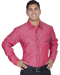 Scully Whip Stitched Denim Retro Western Shirt - Big & Tall, Red, hi-res