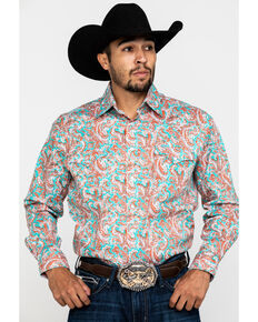 Rough Stock By Panhandle Bellaria Paisley Print Long Sleeve Western Shirt , Red, hi-res
