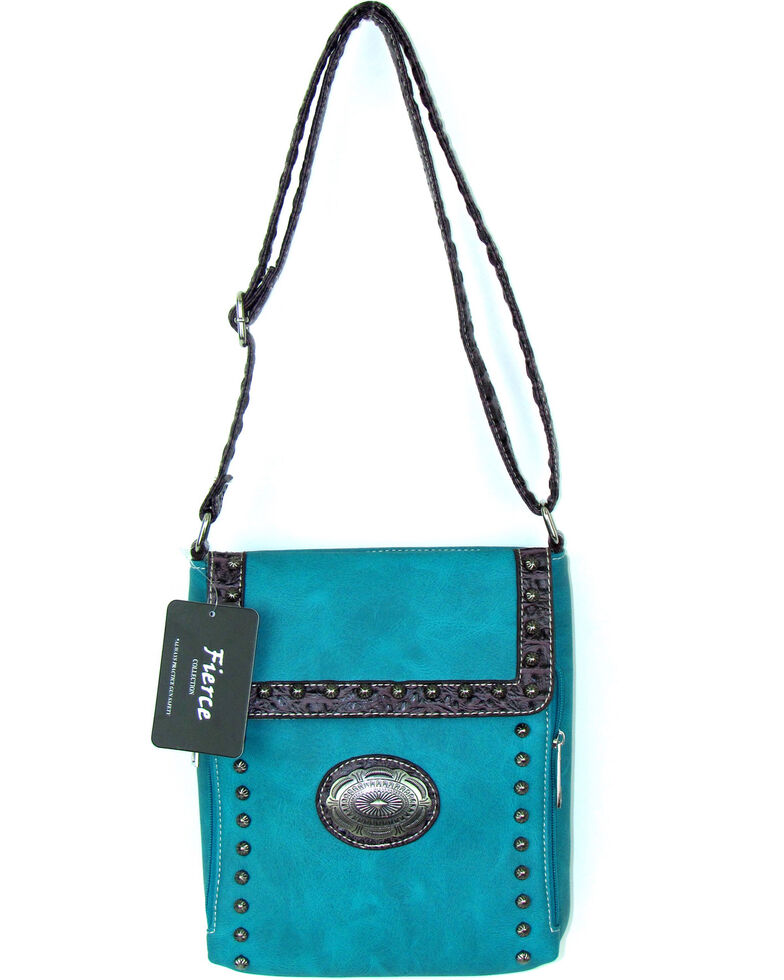 Savana Women's Fierce Conceal Carry Croco Trim Purse , Turquoise, hi-res