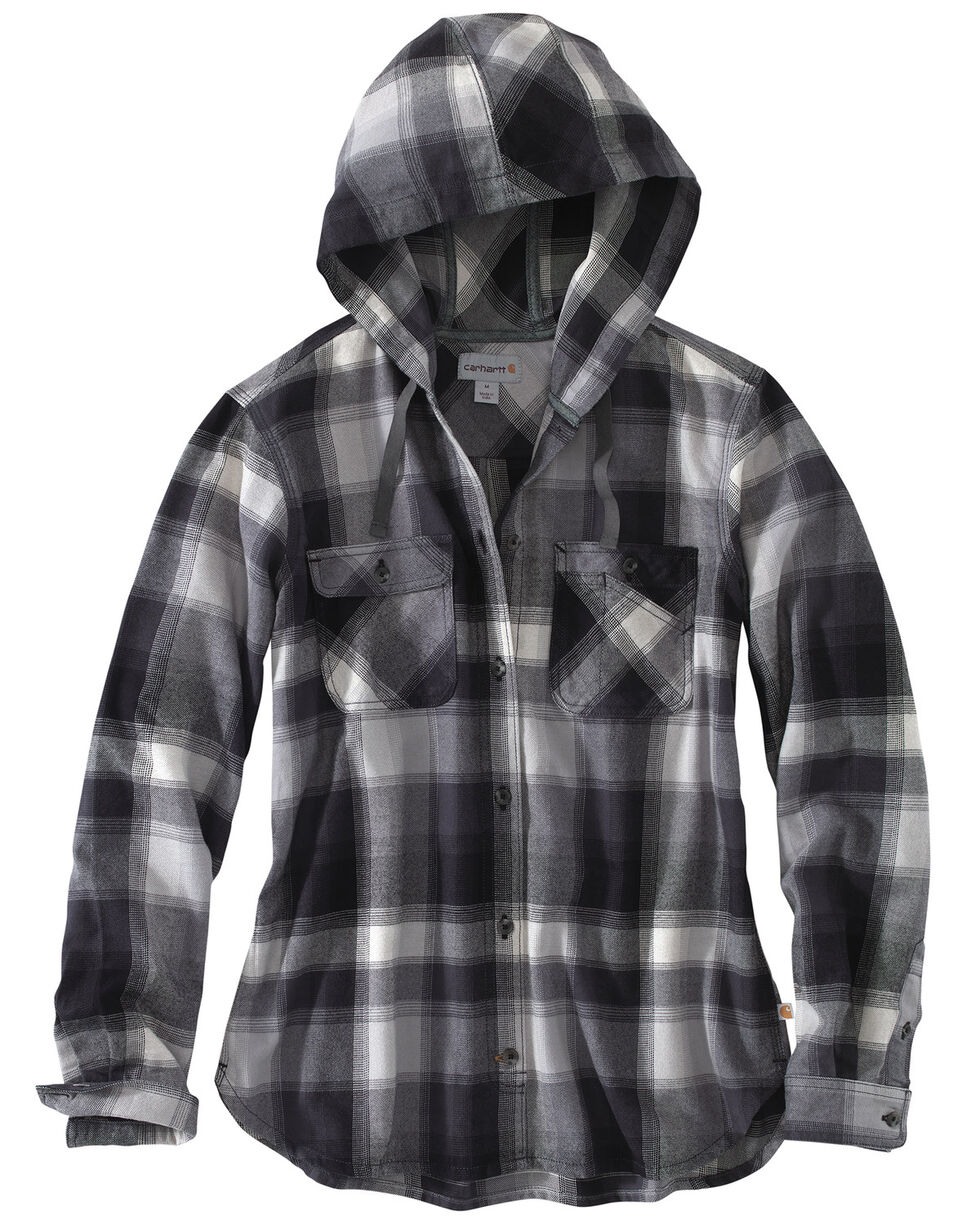 Carhartt Women's Beartooth Hooded Flannel Work Shirt, Dark Grey, hi-res