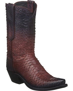 Lucchese Women's Handmade Zara Antique Rose Python Western Boots - Square Toe, Rust Copper, hi-res