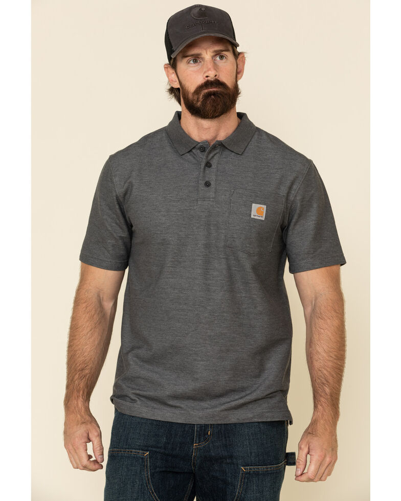 Carhartt Men's Contractors Work Pocket Short Sleeve Polo Shirt - Big , Heather Grey, hi-res