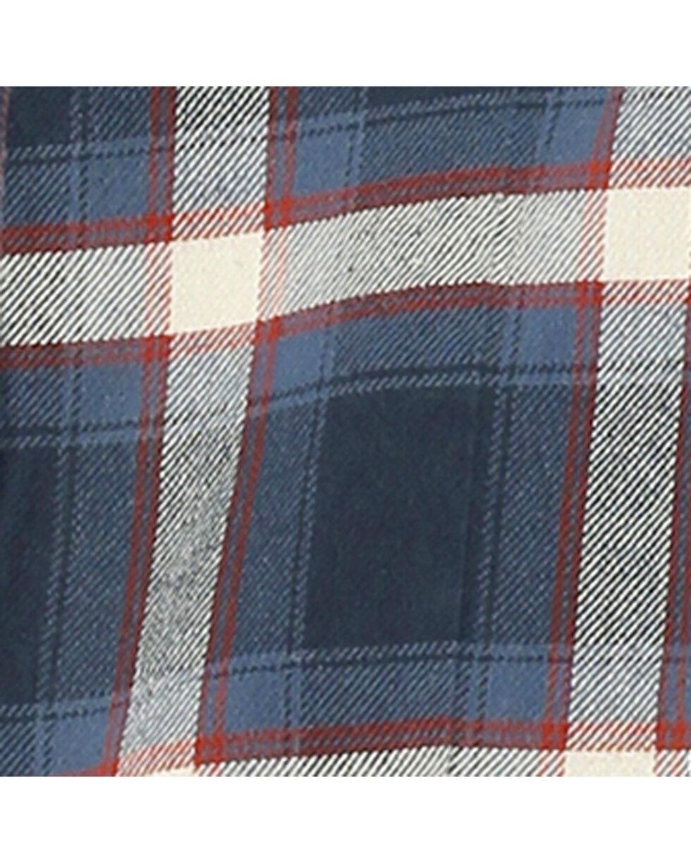 Wrangler Women's Navy Plaid Boyfriend Flannel Shirt , Navy, hi-res
