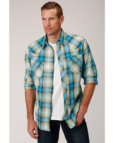 West Made Men's Tide Pool Dobby Plaid Long Sleeve Western Shirt, Blue, hi-res