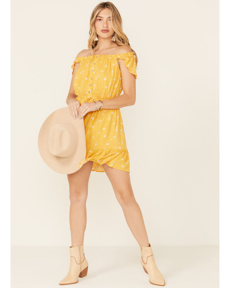 Miss Me Women's Floral Button Front Off-Shoulder Dress, Yellow, hi-res