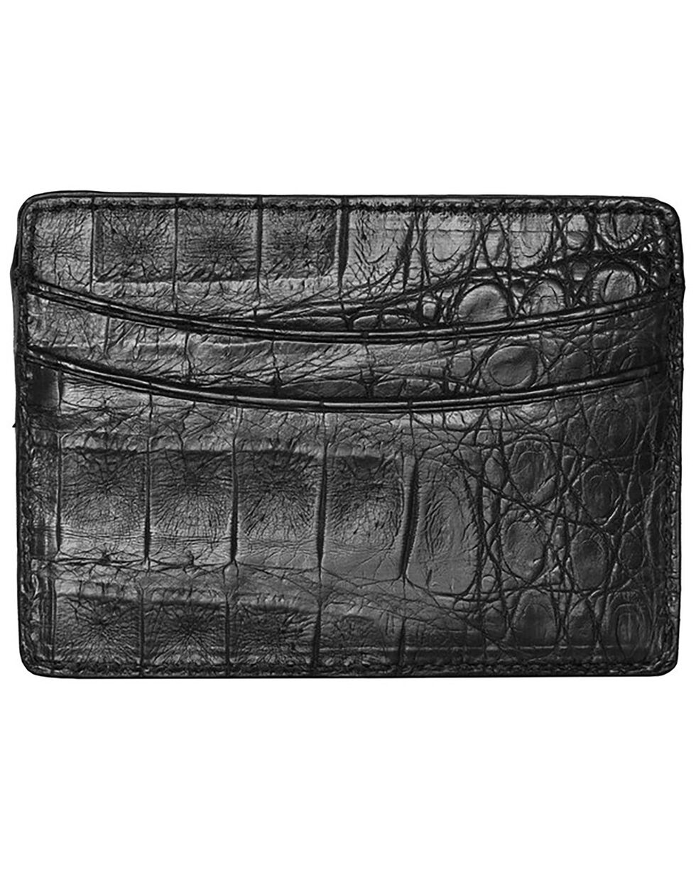 Lucchese Men's Black Crocodile Credit Card Case, Black, hi-res