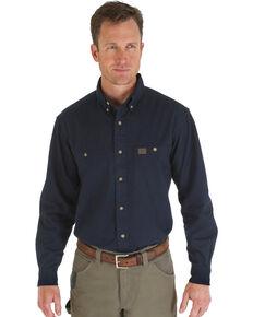 Riggs Workwear Men's Long Sleeve Twill Work Shirt, Navy, hi-res