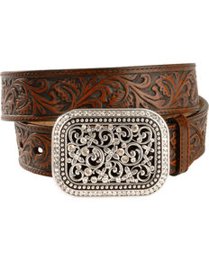 Ariat Women's Tooled Leather Belt, Brown, hi-res