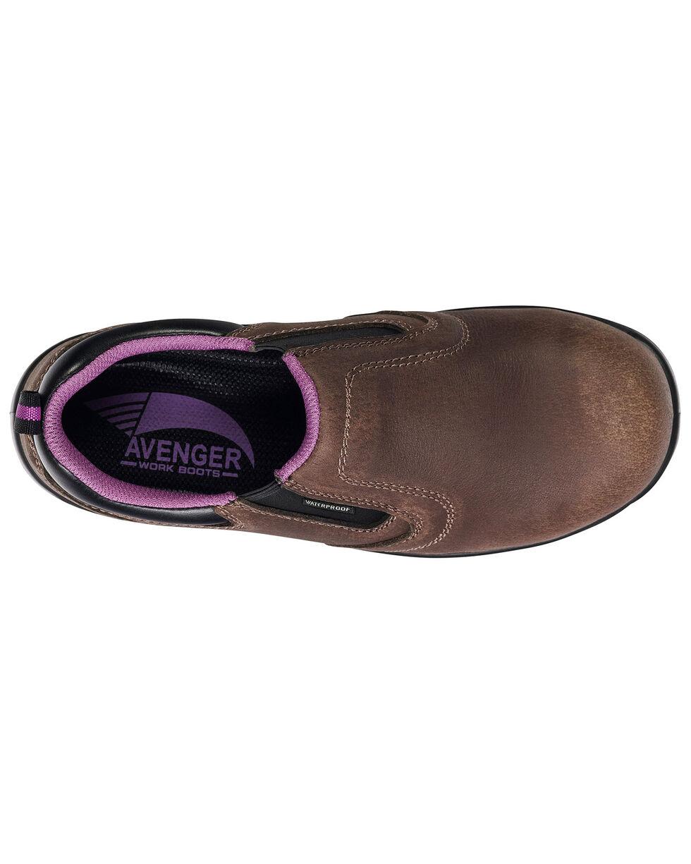 Avenger Women's Waterproof Oxford Work Shoes - Composite Toe, Brown, hi-res