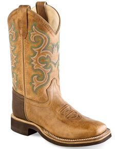 Old West Boys' Tan Western Boots - Wide Square Toe, Tan, hi-res