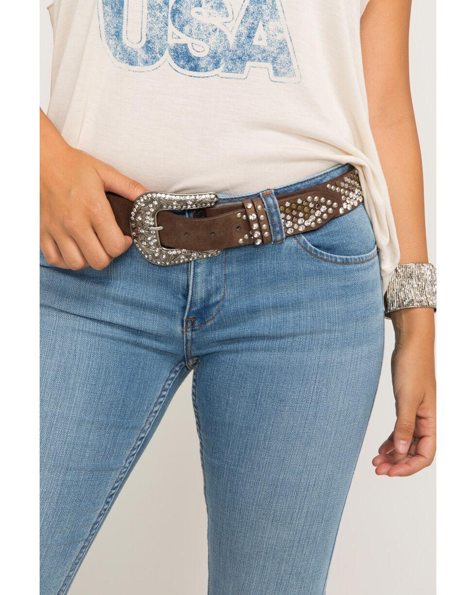 Shyanne Women's Multi-Stud Arrow Tip Belt, Brown, hi-res