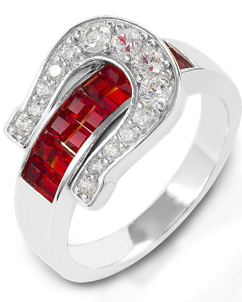 Kelly Herd Women's Red Contemporary Buckle Ring , Silver, hi-res