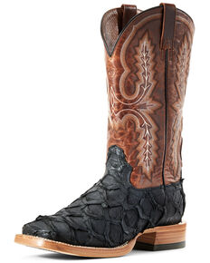 Ariat Men's Deep Water Big Bass Western Boots - Wide Square Toe, Black, hi-res