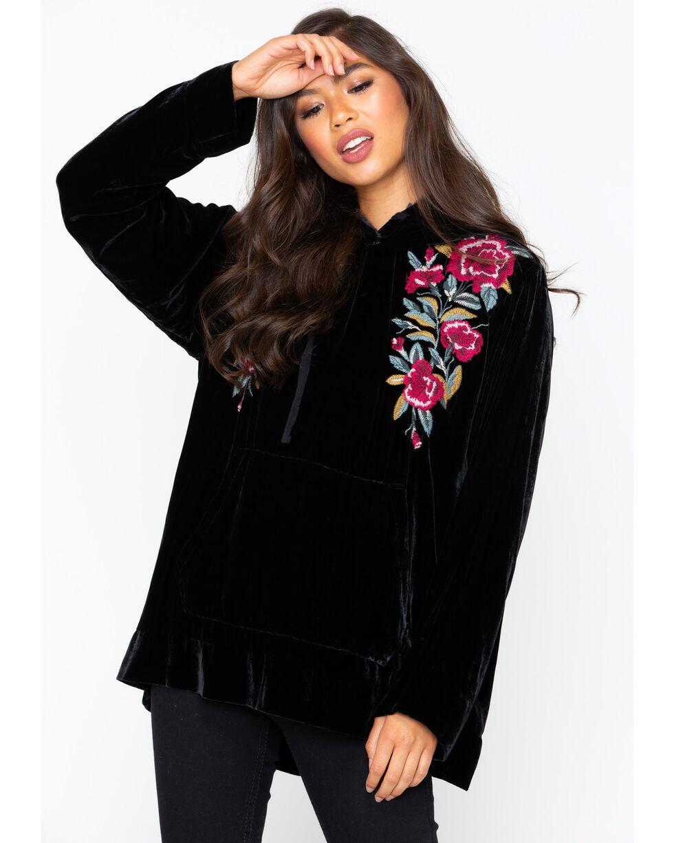Johnny Was Women's Marmont Velvet Hooded Sweatshirt, Black, hi-res