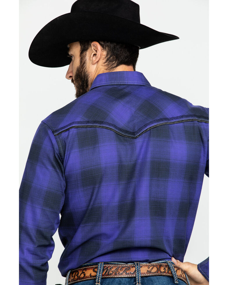 Rock 47 by Wrangler Men's Large Plaid Long Sleeve Western Shirt , Purple, hi-res
