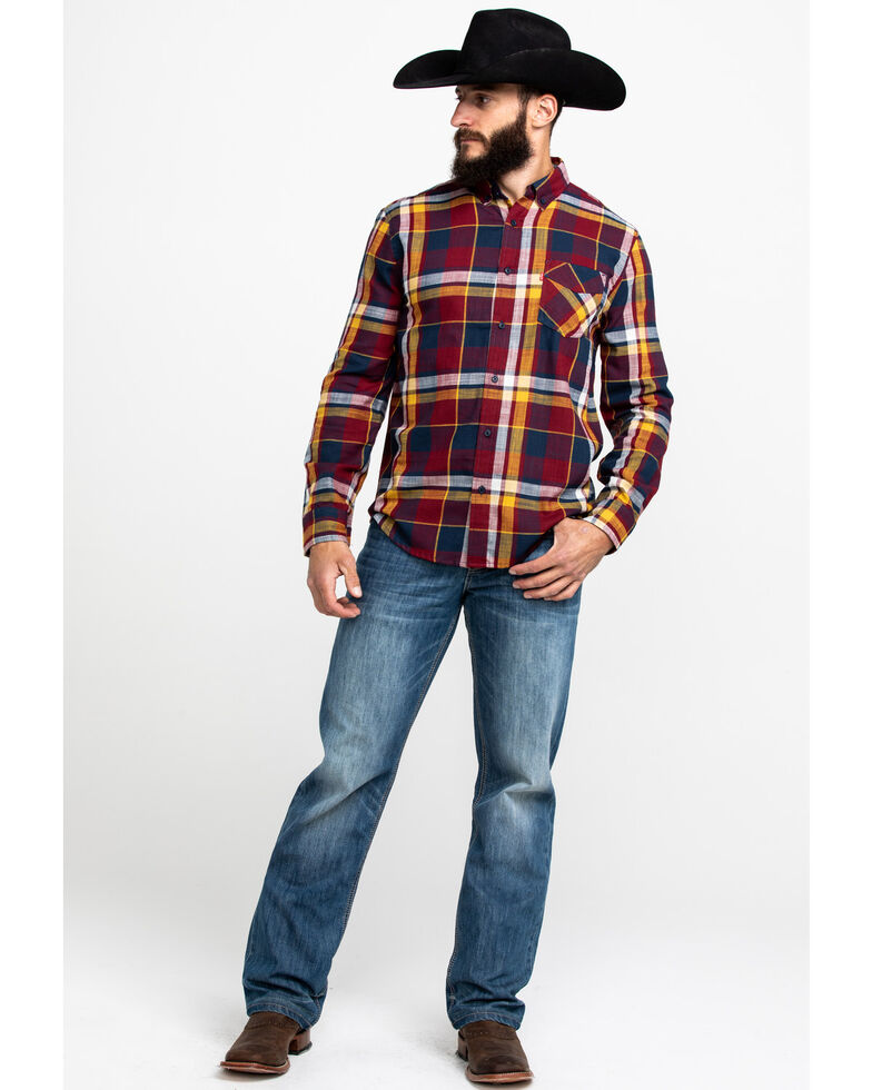 Levis' Men's Red Bellore Madras Plaid Long Sleeve Western Flannel Shirt , Red, hi-res