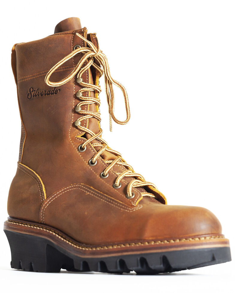 Silverado Men's Lace-Up Logger Work Boots - Soft Toe, Tan, hi-res