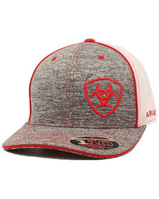 Ariat Men's Heather Grey Corner Logo Flex Fit Mesh Cap , Heather Grey, hi-res