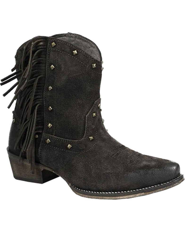 Roper Women's Brown Fringe Boots - Snip Toe, Brown, hi-res