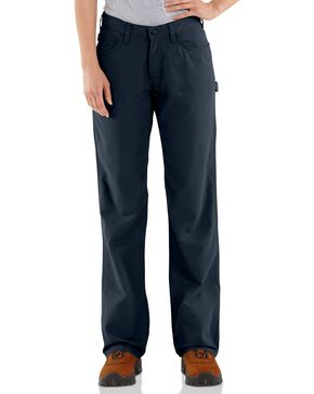 Carhartt Women's Flame-Resistant Relaxed Fit Work Pants, Navy, hi-res