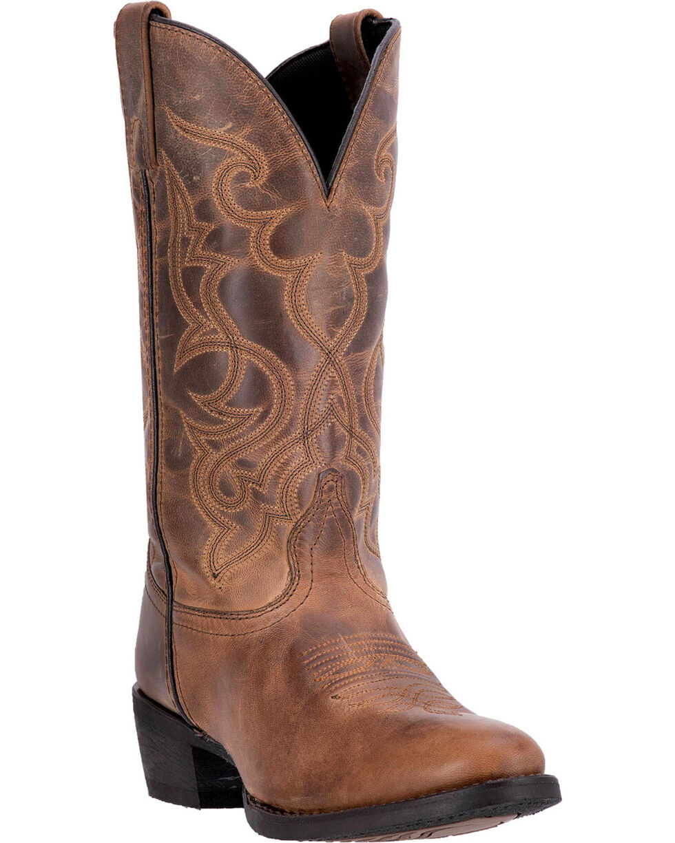 Laredo Women's Distressed Snip Toe Western Boots, Tan, hi-res