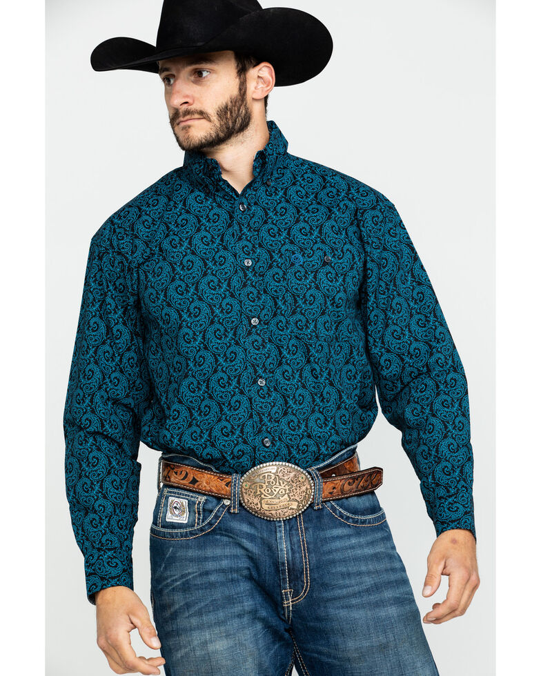 George Strait By Wrangler Men's Large Paisley Print Long Sleeve Western Shirt  , Black/turquoise, hi-res