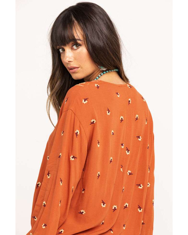 Fae & Francine Women's Rust Embroidered Floral Surplice Top, Rust Copper, hi-res