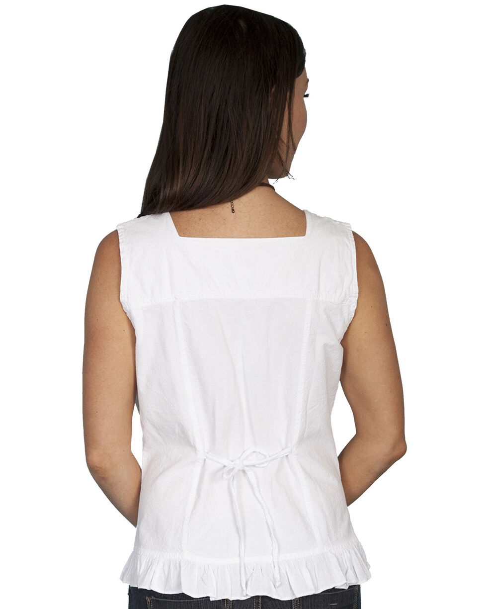 Scully Women's Soutache Pleated Tank Top, White, hi-res