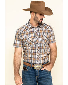 Rock & Roll Cowboy Men's Brown Dobby Plaid Short Sleeve Western Shirt , Brown, hi-res