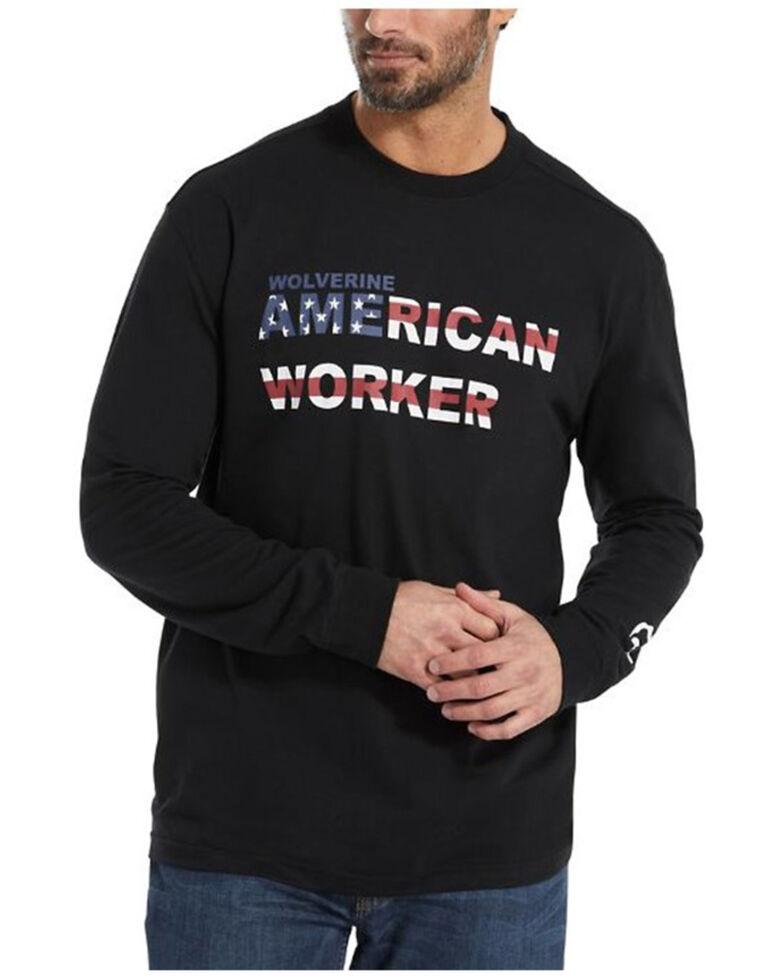 Wolverine Men's Americana Worker Logo Long Sleeve Work T-Shirt , Black, hi-res