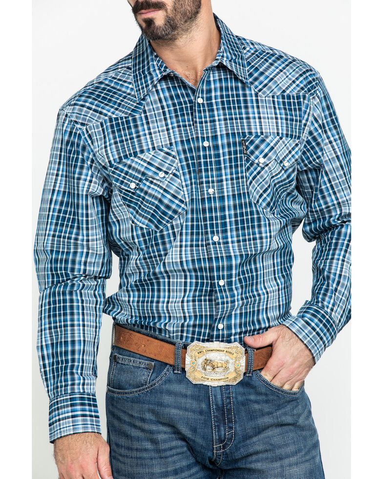 Cinch Men's Blue Large Plaid Long Sleeve Western Shirt , Blue, hi-res