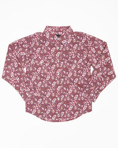 Shyanne Toddler Girls' Rhinestone Dark Pink Paisley Print Long Sleeve Western Shirt, Pink, hi-res
