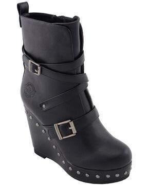 Milwaukee Leather Women's Women's Triple Strap Wedge Boots - Round Toe, Black, hi-res