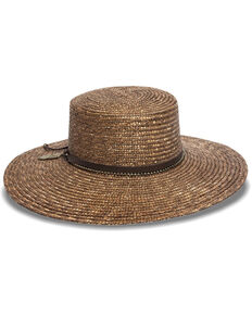 Nikki Beach Women's Kos Milan Boater Straw Hat , Bronze, hi-res