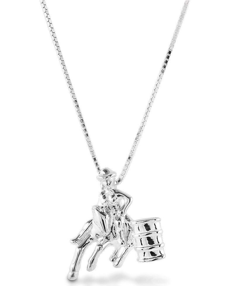 Kelly Herd Women's Small Barrel Racing Pendant Necklace, Silver, hi-res