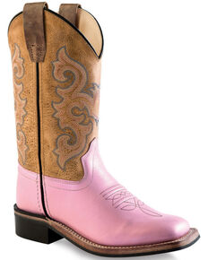 Old West Girls' Pink and Brown Leather Boots - Square Toe , Pink, hi-res