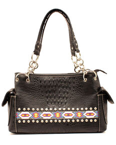 M&F Women's Blazin' Roxx Aztec Bead Purse, Black, hi-res