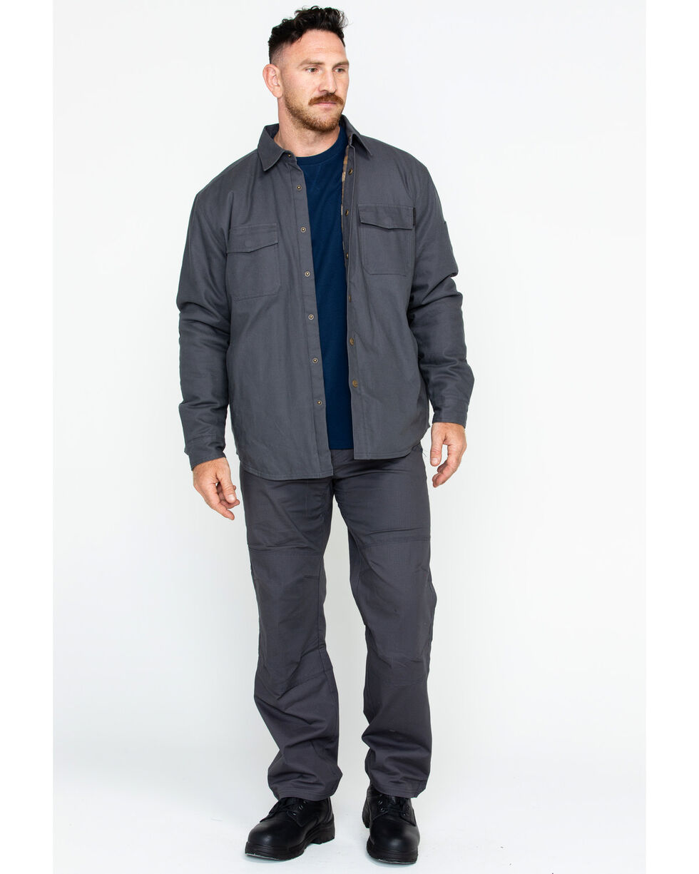 Hawx Men's Canvas Work Shirt Jacket , Charcoal, hi-res