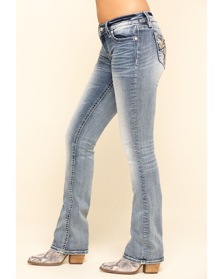 Miss Me Women's Light Wash Cross Wing Bootcut Jeans, Blue, hi-res