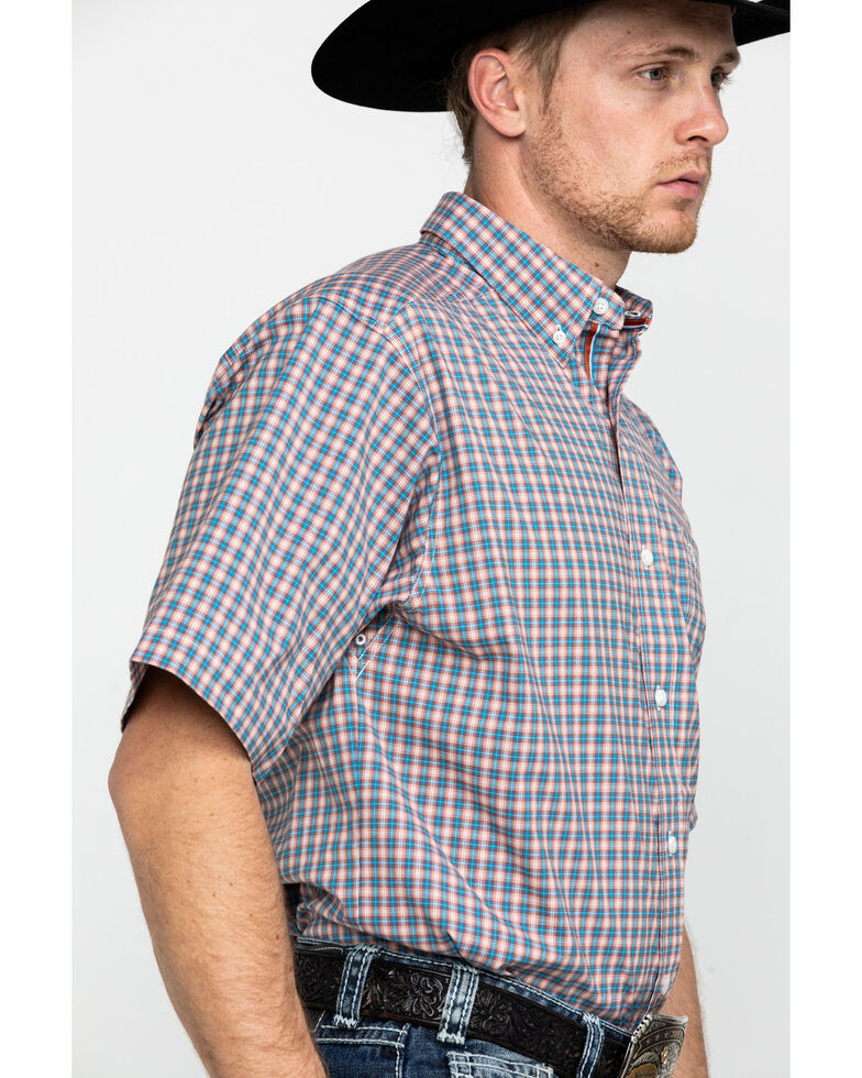 Ariat Men's Stanley Stretch Small Plaid Short Sleeve Western Shirt , Tan, hi-res